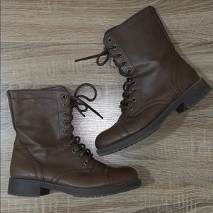 Lace Up Side Zipper Leather Combat Boots